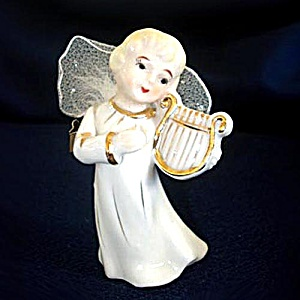 Porcelain Angel With Lyre Wired Tulle Wings Clip On Christmas Ornament (Image1)