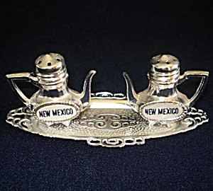 Silver Teapots On Tray New Mexico Souvenir Salt And Pepper Shakers