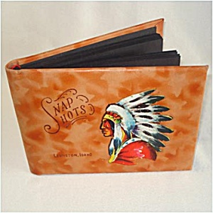 Lewiston Idaho Leather Snapshots Photo Album Hand Painted Indian (Image1)