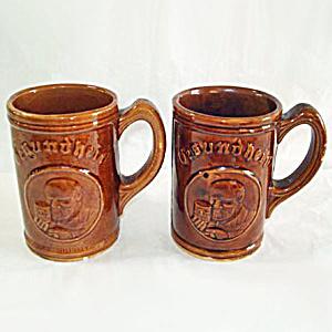 Gesundheit Yellow Ware Beer Mug or Stein, 1930s Advertising Premium (Image1)