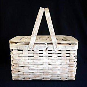 Antique Whitewashed Woven Wood Picnic Basket