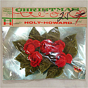 Holt Howard Velvet Beaded Christmas Rose Corsage Trim in Unopened Package (Image1)