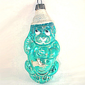 German Blue Dog Figural Glass Christmas Ornament (Image1)