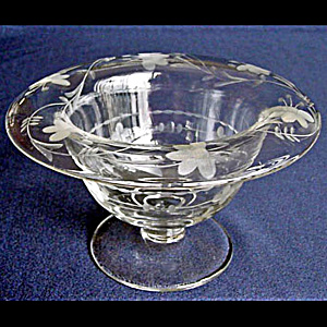Tiffin US Glass Crystal Whip Cream Bowl Compote with Flower Cutting (Image1)