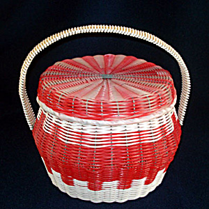 Red and White Woven Plastic Covered Sewing or Hair Curlers Basket (Image1)