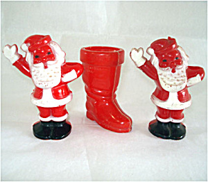 3 Hard Plastic Candy Containers, Santa Claus and Boot (Image1)