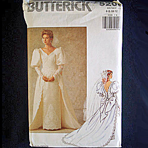 Butterick Uncut Bridal Wedding Dress Sewing Pattern Size 6-12 (Image1)