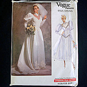 Vogue 1988 Size 8 Bridal Wedding Dress Sewing Pattern Uncut (Image1)
