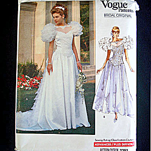 Vogue 1989 Wedding Bridal Dress Sewing Pattern Uncut Size 6-10 (Image1)