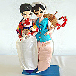 Pair Bradley Big Eyes Oriental Asian Girl Boudoir Dolls