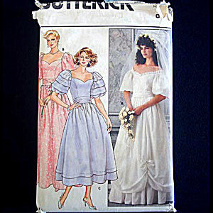 Butterick 1985 Wedding Bridal and Bridesmaid Dress Sewing Pattern Uncut Size 8 (Image1)