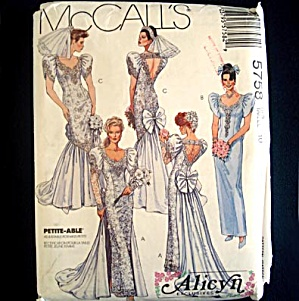 McCalls 5758 Glamorous Alicyn Wedding Gown Sewing Pattern Size 10 Uncut (Image1)