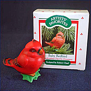 Hallmark 1988 Baby Redbird Clip on Christmas Ornament in Original Box (Image1)