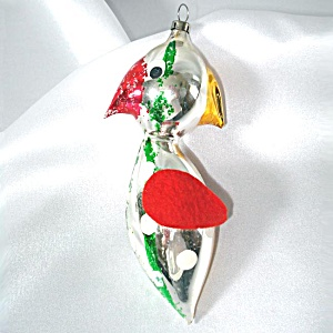 Comical Czech Free Blown Glass Bird Christmas Ornament
