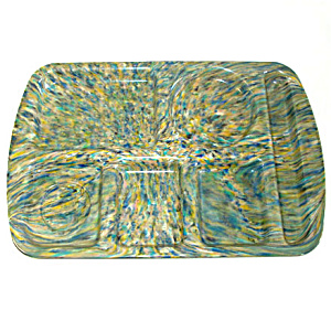 Khaki Green Blue Confetti Speckle Melmac School Lunch Tray (Image1)