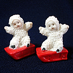 Snowbaby Snow Baby on Sled Christmas Figure Pair (Image1)