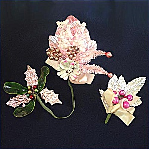 3 Pink Christmas Corsages Glass Balls, Sugar Bells, Pine Cones, Bottle Brush (Image1)