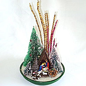 Christmas Nativity Scene Centerpiece With Bottle Brush Trees, Bead Spikes (Image1)