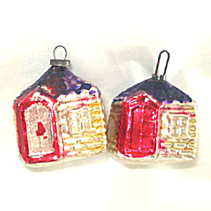 Pair 1920s Tiny Figural House Feather Tree Glass Christmas Ornaments (Image1)