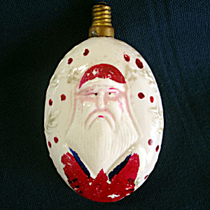 Large Oval Father Christmas Santa Figural Milk Glass Light Bulb, Working (Image1)