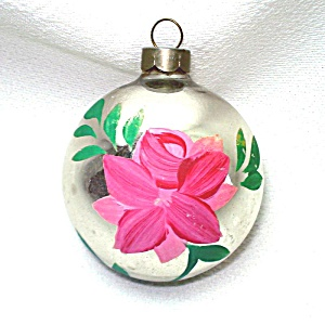 1930s Usa Hand Painted Rose Glass Christmas Ornament