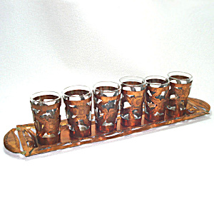 Hand Tooled Copper Jacketed Shot Glasses Set On Tray