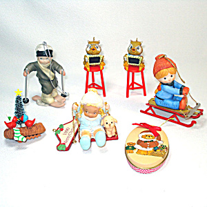 6 Enesco Christmas Ornaments From The 1980s