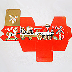 1950s Glittered Christmas Train Paper Treasure or Candy Box Unused (Image1)