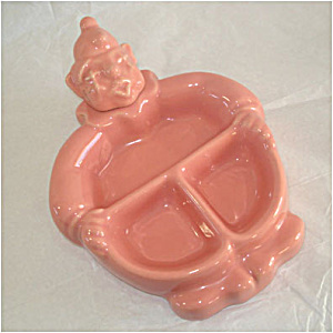 Red Wing Pottery Hankscraft Pink Clown Baby Feeding Dish (Image1)