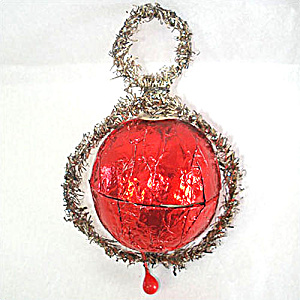 1930s USA Red Foil and Tinsel Candy Container Christmas Ornament (Image1)