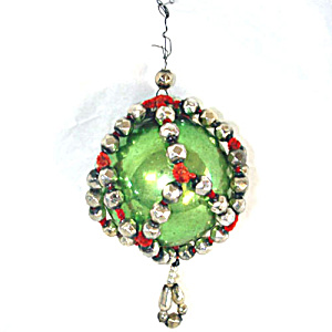 Czech Mercury Glass Christmas Ornament in Fancy Beaded Cage Green Silver Red (Image1)