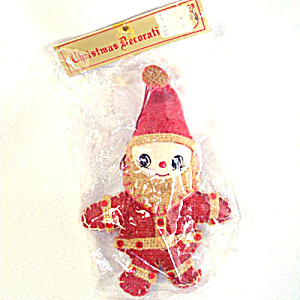 Burlap Christmas Pixie Santa Claus Ornament in Original Package (Image1)