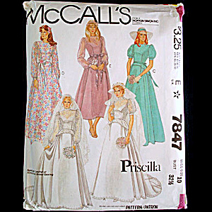 Mccalls Priscilla 7847 Bridal Wedding Gown Sewing Pattern Uncut Size 10
