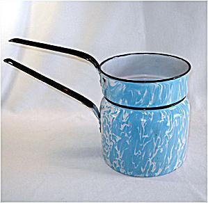 Blue Swirl Graniteware Enamel Double Boiler (Image1)