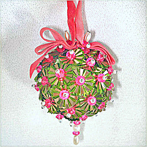 Beaded Sequined Christmas Ornament Pink Green Ornaments Beaded