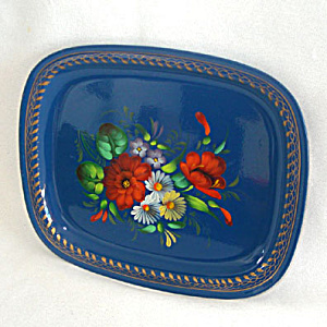Vintage Russian Blue Tole Tray Gorgeous Flowers (Image1)
