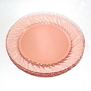 4 Arcoroc France Rosaline Pink Swirl Glass Luncheon Plates