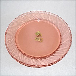 Arcoroc France Pink Swirl Glass Luncheon Plate Mint - 4 Available