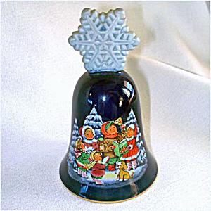 Avon 1987 Porcelain Christmas Bell Caroling Children (Image1)