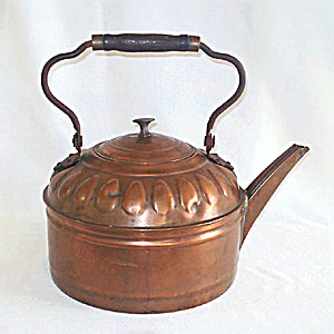 1800s Six Quart Antique Copper Water Kettle
