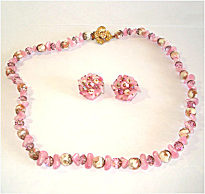 Laguna Pink Crystal and Faux Stone Necklace Earrings Set (Image1)
