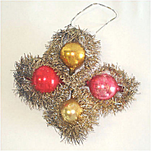 Glass And Tinsel Clover Shape Antique Christmas Ornament (Image1)