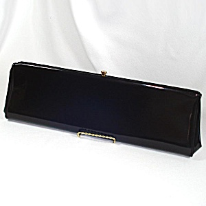 Theodor Black Patent Leather Extra Long Clutch Purse 18 Inches