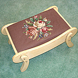 Flower Bouquet Needlepoint Sleigh Shape Foot Stool (Image1)