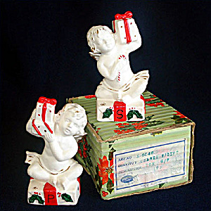 Napco Christmas Cherubs Salt Pepper Shakers in Original Box (Image1)