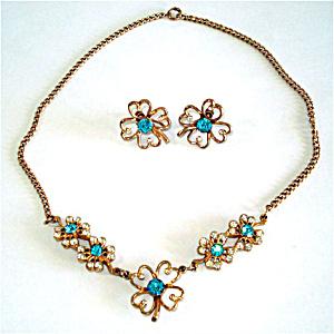 Blue Rhinestone Clover Flower Necklace Earrings Demi Parure (Image1)