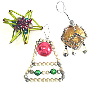 Glass Beaded Bell, Star, Fancy Wrapped Drop Christmas Ornaments (Image1)