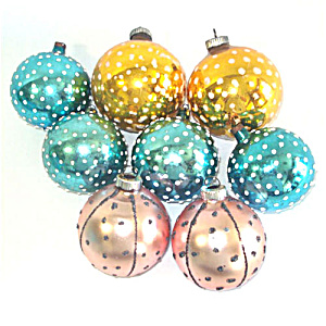 8 Mica Polka Dot 1950s Glass Christmas Ornaments (Image1)