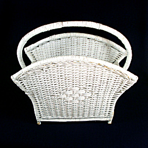 White Wicker Magazine Rack