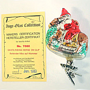 Santa Claus on Horseback Boxed Inge Glass Clip Christmas Ornament (Image1)